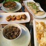 Meatballs with squid & mushrooms, Chicken fajitas roll, Fried mushrooms, Squid, Patatas Bravas