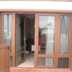 Front doors/patio. We had french doors some apt have door