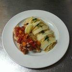 Esacalope de volaille au parmesan, spaghetti, sauce provençale
