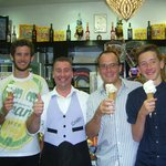 With the proprietor and 3 yummy cones.