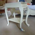 Broken table leg wrapped in gaffer tape