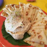 This is the hummus which is on the appetizer menu.  It's excellent and fresh.  The pita bread is