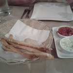 Breadsticks, foccachia, pesto mayonaise and marinara sauce (this one was a real treat, and almos
