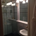 Very small bathroom but walk-in shower surprisingly roomy.
