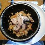 Ishi Yaki Buri Bop: yellowtail with rice in a hot stone bowl