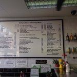 The menu on the wall