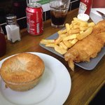 Crispy fish and chips and the pie