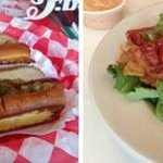 Kosher hot dogs and salad at Rocky's Soda Shop