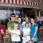 Family picture outside Rocky's Soda Shop, Brevard, NC