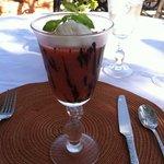 Strawberry smoothie with homemade vanilla bean ice cream