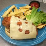 Our Famous Fresh cut, breaded and fried Chicken Sandwich!