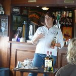 Roisin-- who is a champion Irish Coffee maker- revealing her secrets. She was great!