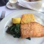 Salmon, kale and corn pudding