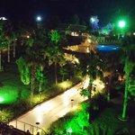 balcony view on neon night