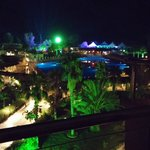 balcony view on neon party night