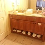 Double sinks and to the left the fully enclosed toilet area which was large as well.