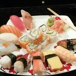 Sushi dinner. Salmon, white tuna, surf clam, and eel were excellent.