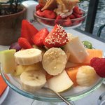 Tasty desert with fruits and berries
