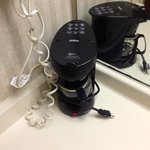 I've stayed in many hotels and have never seen the coffee maker in the bathroom. Sanitary?
