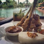 delicious Satay Babi by the pool