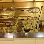 Brass band instruments on display in visitors Center