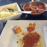 Butter chicken and rice.  Putting it all together~!  Clay Oven  |  240-1600 Kenaston Boulevard,