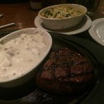 Fillet Mignon with mashed potatoes and Mac and Cheese