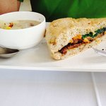 Daily featured soup and sandwich - maple bacon corn showder and short rib cheese panini with spi