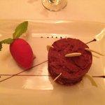 So yummy chocolate torte and strawberry ice-cream/sorbet