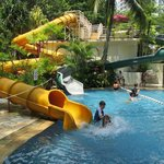 Hours of fun on the hotel swimming pool water-slides!
