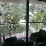 Cozy room balcony facing the garden of the opposite property
