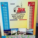 Train timetable to Zadar