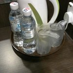Complimentary water, glasses & kettle.