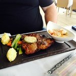 Special 600g T-bone steak with prawns on the side