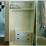 Habitación, foto hecha desde el cabecero de la cama + baño