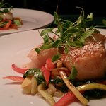 Pan seared back pearl scallops in a hoi sin, honey soy broth with Asian stir fry vegetables and