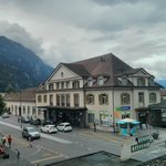 View of Interlaken west station from room