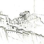 La citadelle et le monastère croqués de la terrasse du Leh View
