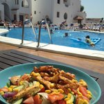 Cajun Chicken Salad by the pool - yum yum!!