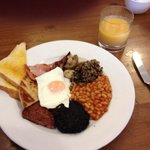 The Alba breakfast, with a glass of freshly squeezed orange juice. Absolutely fantastic start to