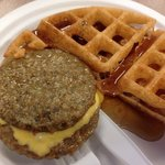 Breakfast!  (They had buns for the sausage, but I chose a waffle!)