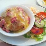 Cheese and ham jacket potato and salad