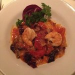 Salmon Ravioli with chorizo and shrimp