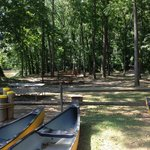 view of our campsite from the canoe rental