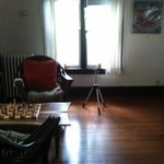 """Rec"" room- a chessboard and a yoga ball"