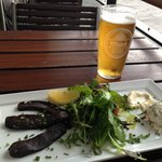 Smoked Whale with delicious creamy mustard and vegetable cream cheese, and Mack beer