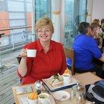 Lynda in the Britannia restaurant