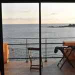 Large tinted glass doors provide a great view.