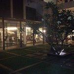 Hotel restaurant at night.