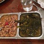 Collard greens and blackened peas
